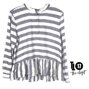 Lucky Brand Top Linen Striped Ruffle Tunic Size L